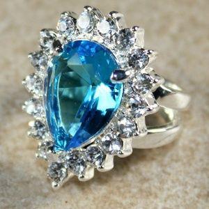 Jewelry - SILVER  Royal Blue Topaz & Crystal Teardrop Ring